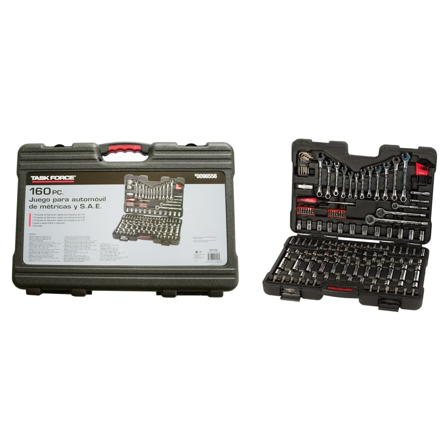 Task Force 160-Piece Standard (SAE) and Metric Combination Mechanic's Tool Set