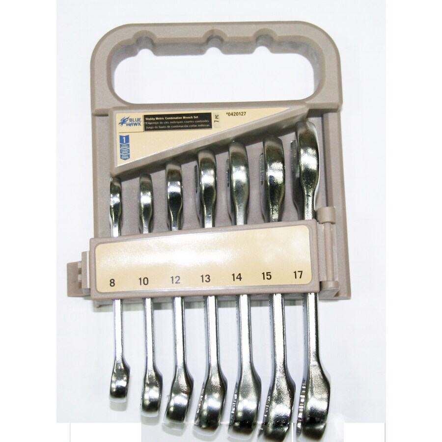 Blue Hawk 7-Piece Standard Polished Chrome Metric Wrench Set