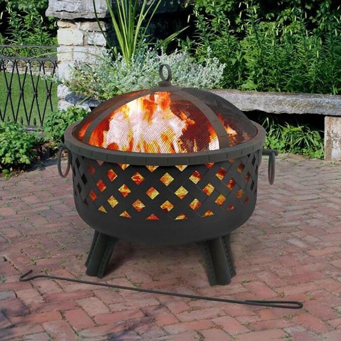 Landmann Usa Garden Lights 28 5 In W Black Steel Wood Burning Fire Pit In The Wood Burning Fire Pits Department At Lowes Com