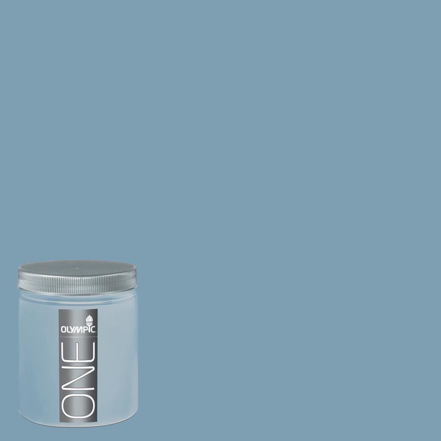 Olympic 8-oz Feelin-ft Blue Interior Satin Paint Sample