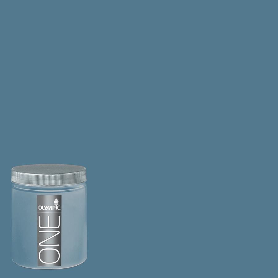 Olympic 8-oz Smoke Blue Interior Satin Paint Sample