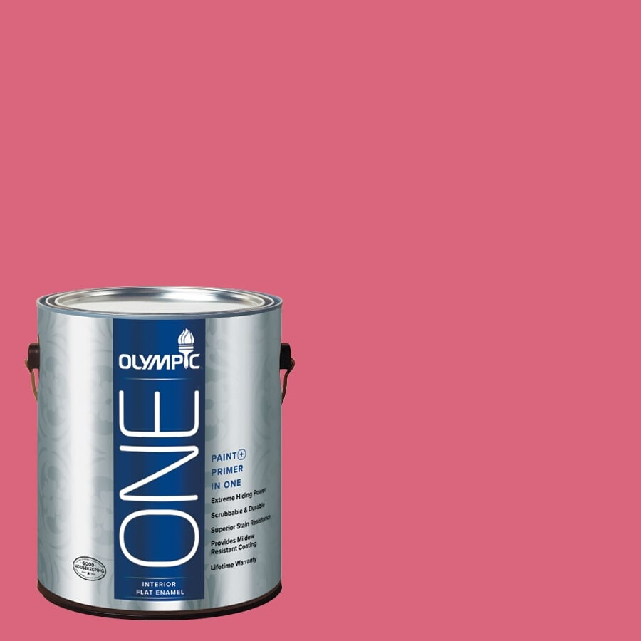 Olympic ONE Raspberry Rush Flat Latex Interior Paint and Primer In One (Actual Net Contents: 114-fl oz)