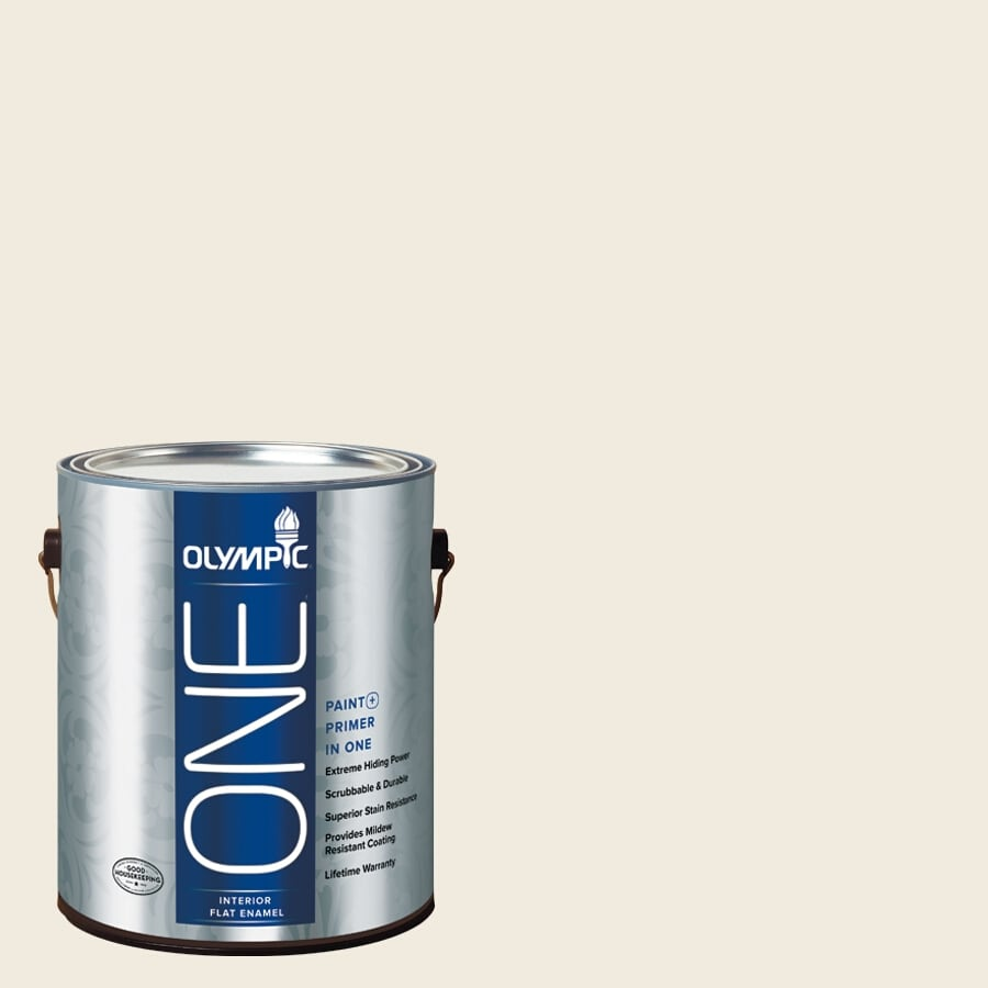 Olympic ONE Candlelit Beige Flat Latex Interior Paint and Primer In One (Actual Net Contents: 124-fl oz)