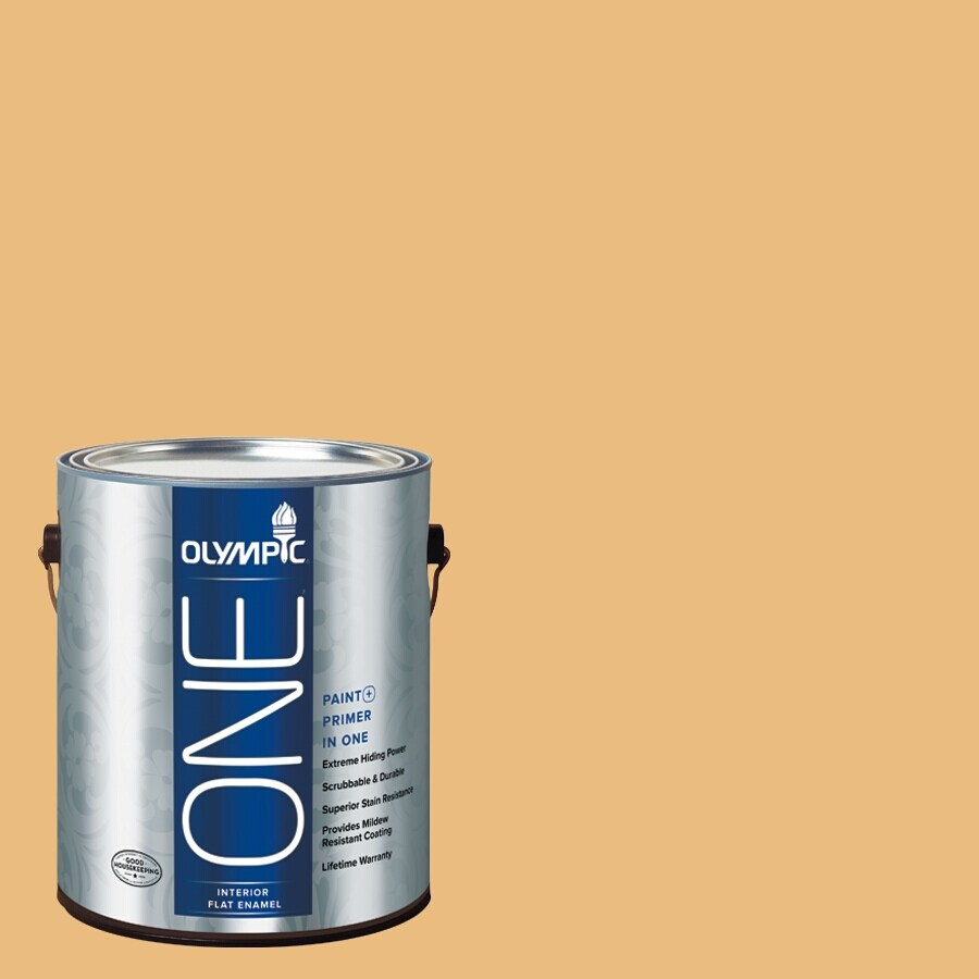 Olympic ONE Gold Ruff Flat Latex Interior Paint and Primer In One (Actual Net Contents: 116-fl oz)