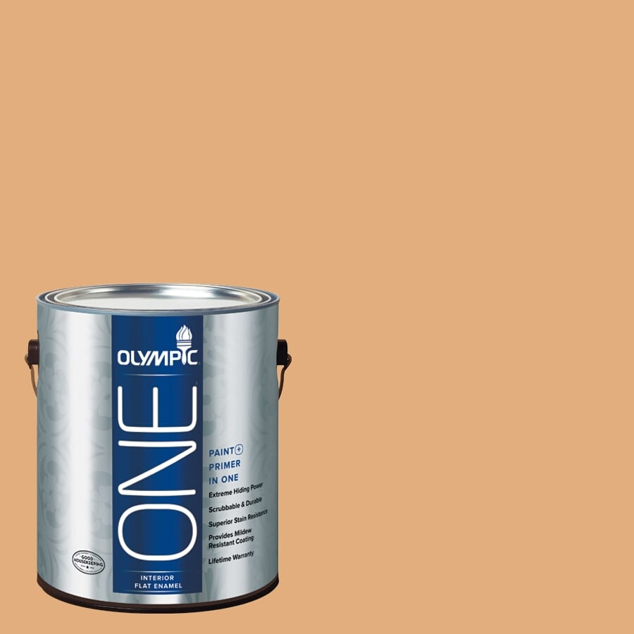 Olympic ONE Chocolate Turtle Flat Latex Interior Paint and Primer In One (Actual Net Contents: 116-fl oz)