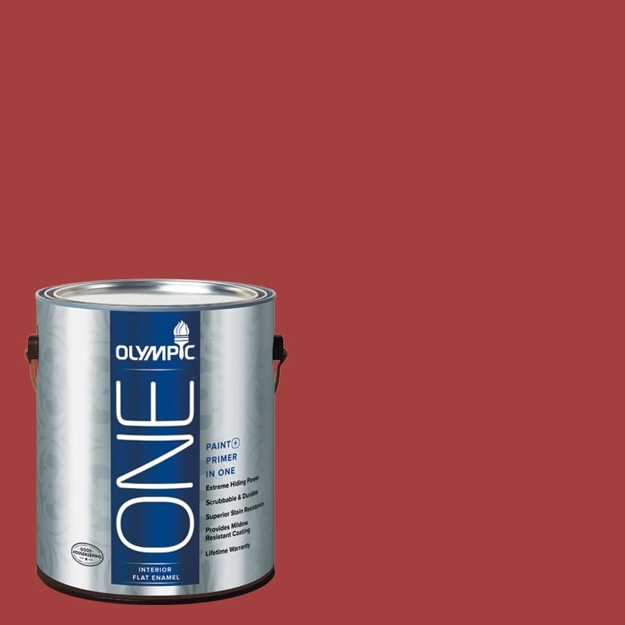 Olympic ONE Red Gumball Flat Latex Interior Paint and Primer In One (Actual Net Contents: 114-fl oz)