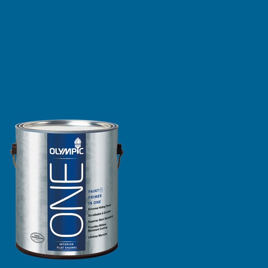Olympic ONE Suddenly Sapphire Flat Latex Interior Paint and Primer In One (Actual Net Contents: 114-fl oz)