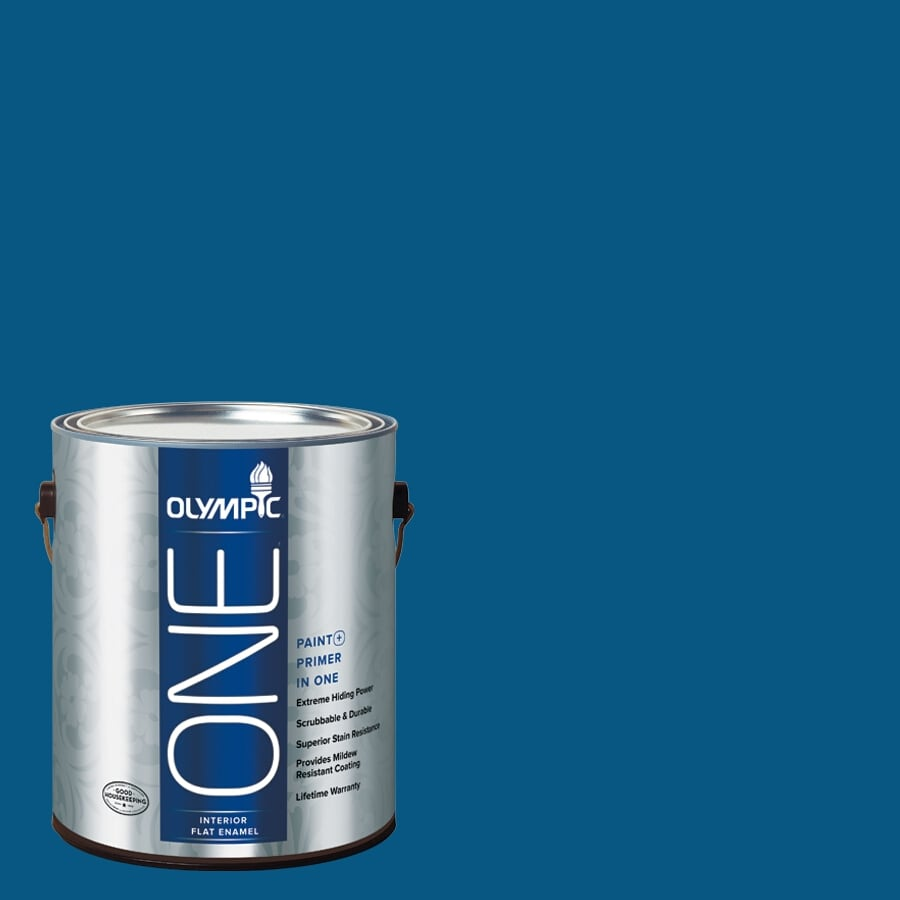 Olympic ONE Brilliant Blue Flat Latex Interior Paint and Primer In One (Actual Net Contents: 114-fl oz)