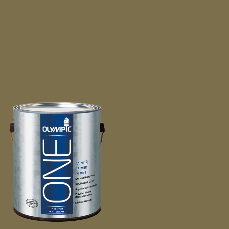 Olympic ONE Green Briar Flat Latex Interior Paint and Primer In One (Actual Net Contents: 114-fl oz)