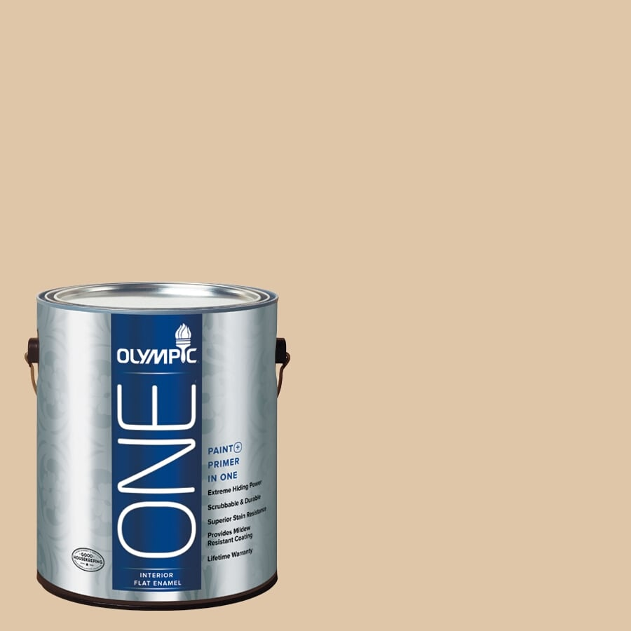 Olympic ONE Vanilla Brandy Flat Latex Interior Paint and Primer In One (Actual Net Contents: 124-fl oz)