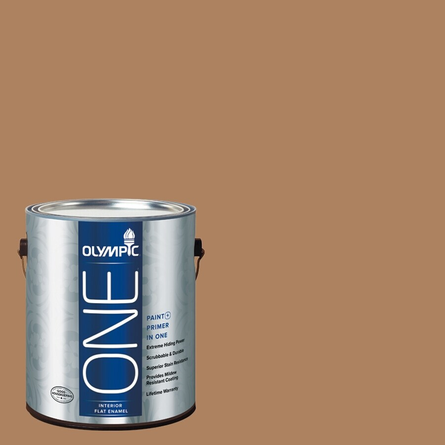 Olympic ONE Bronco Brown Flat Latex Interior Paint and Primer In One (Actual Net Contents: 114-fl oz)