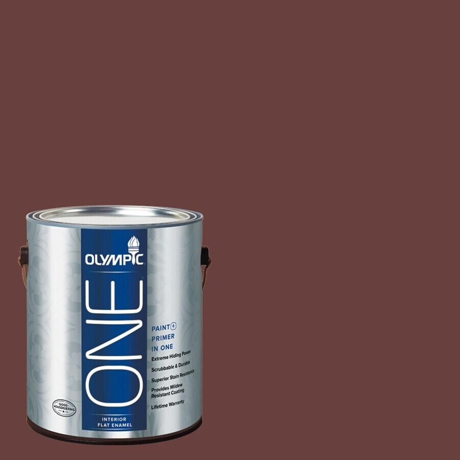 Olympic ONE Burgundy Wine Flat Latex Interior Paint and Primer In One (Actual Net Contents: 114-fl oz)