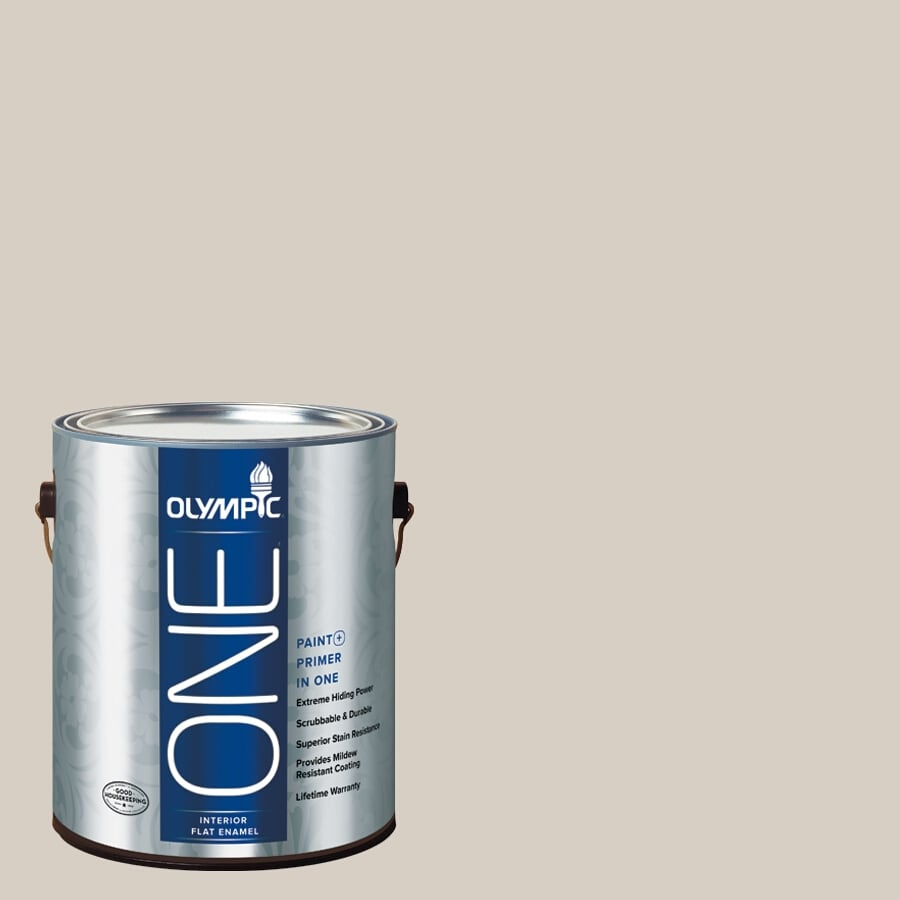Olympic ONE Gray Beige Flat Latex Interior Paint and Primer In One (Actual Net Contents: 124-fl oz)