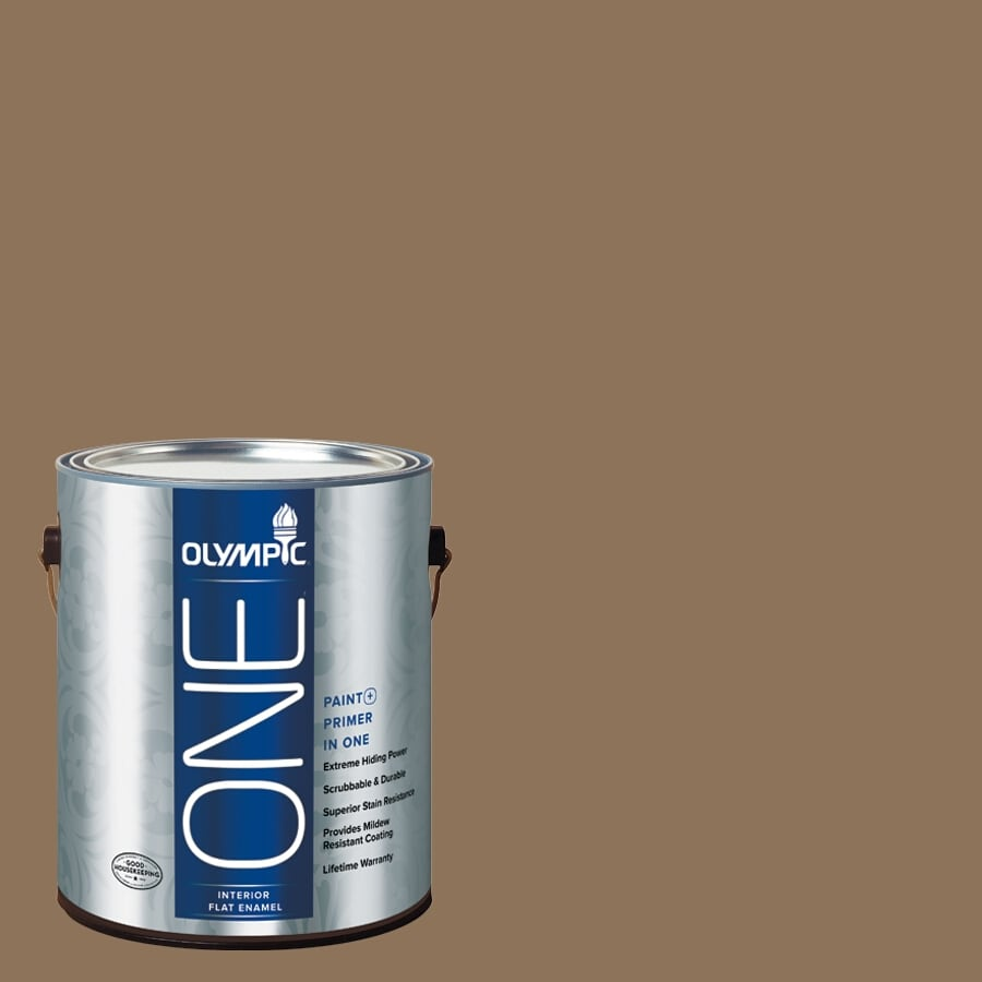 Olympic ONE Hat Box Brown Flat Latex Interior Paint and Primer In One (Actual Net Contents: 114-fl oz)