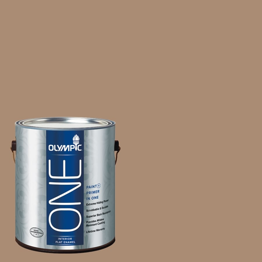 Olympic ONE Hot Chocolate Flat Latex Interior Paint and Primer In One (Actual Net Contents: 116-fl oz)