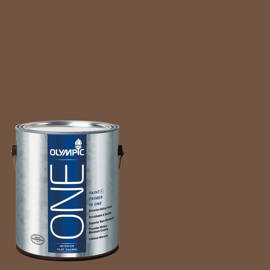 Olympic ONE Chocolate Kiss Flat Latex Interior Paint and Primer In One (Actual Net Contents: 114-fl oz)