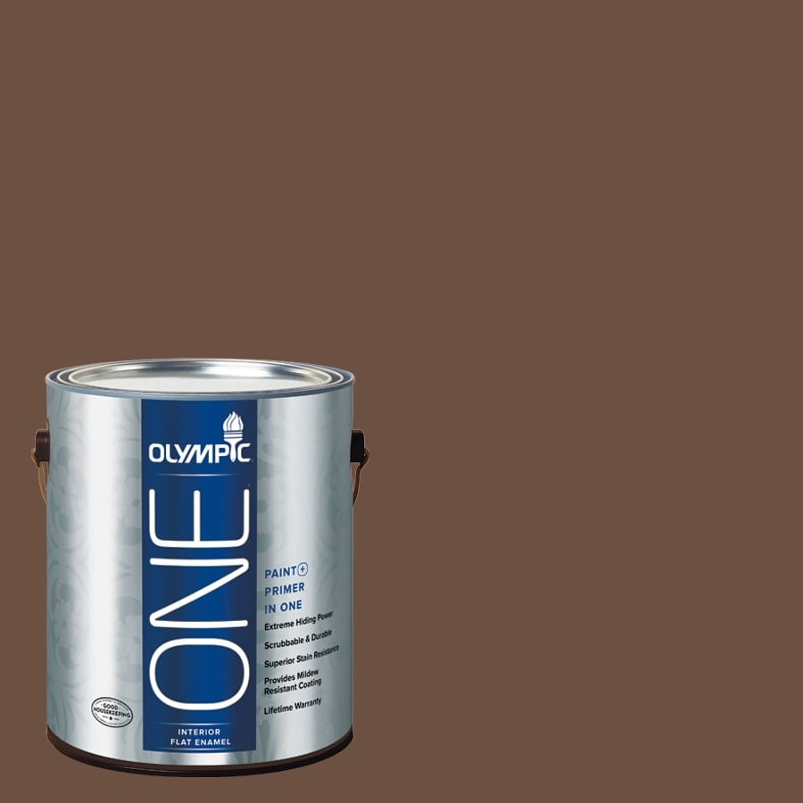 Olympic ONE Chocolate Pudding Flat Latex Interior Paint and Primer In One (Actual Net Contents: 114-fl oz)
