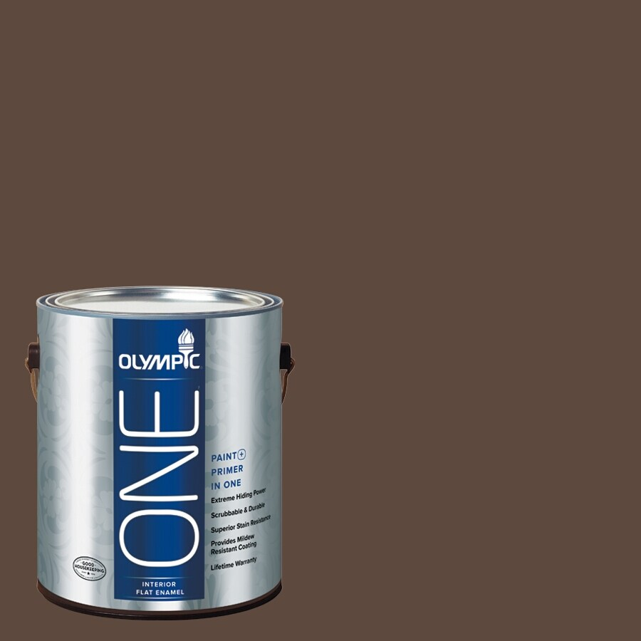 Olympic ONE Fudge Truffle Flat Latex Interior Paint and Primer In One (Actual Net Contents: 114-fl oz)