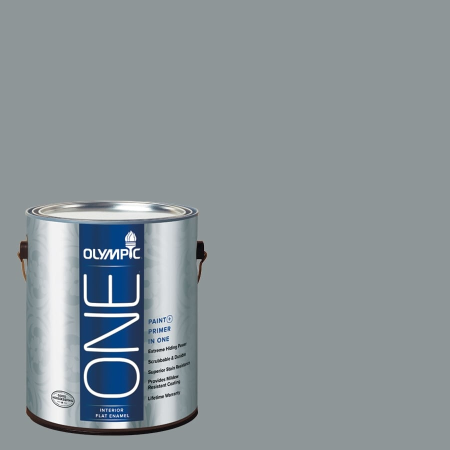 Olympic ONE Steeple Gray Flat Latex Interior Paint and Primer In One (Actual Net Contents: 116-fl oz)