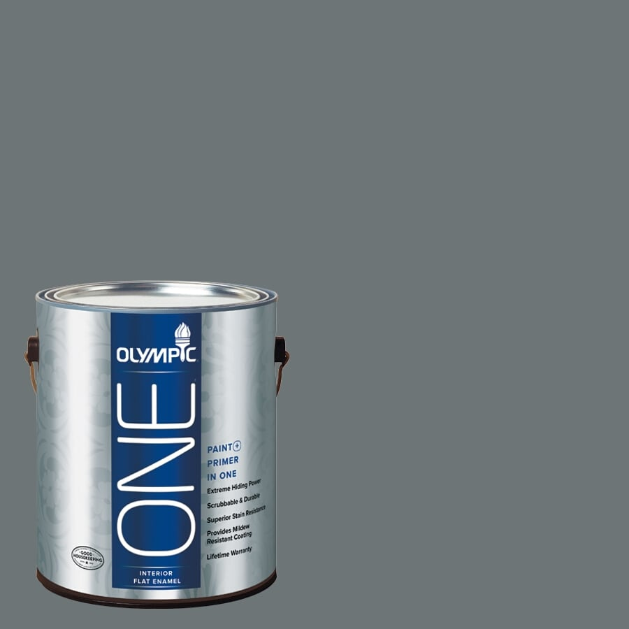 Olympic ONE Volcanic Ash Flat Latex Interior Paint and Primer In One (Actual Net Contents: 114-fl oz)