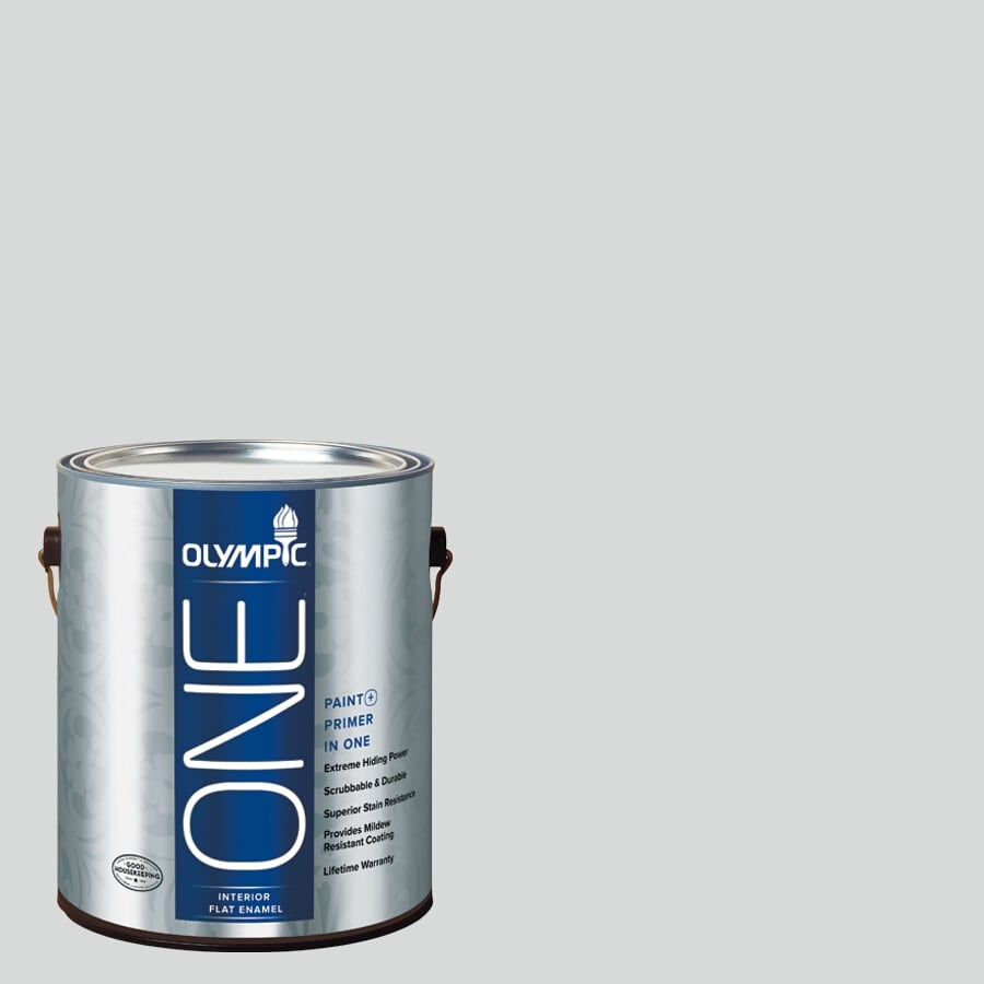 Olympic ONE Thin Ice Flat Latex Interior Paint and Primer In One (Actual Net Contents: 124-fl oz)