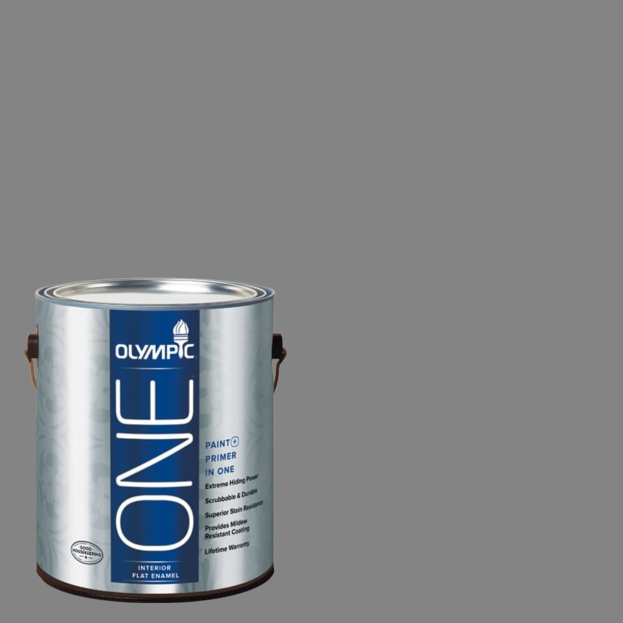 Olympic ONE Dover Gray Flat Latex Interior Paint and Primer In One (Actual Net Contents: 116-fl oz)