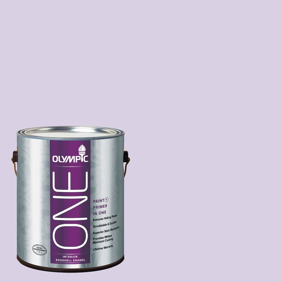 Olympic ONE Lightly Lilac Eggshell Latex Interior Paint and Primer In One (Actual Net Contents: 124-fl oz)