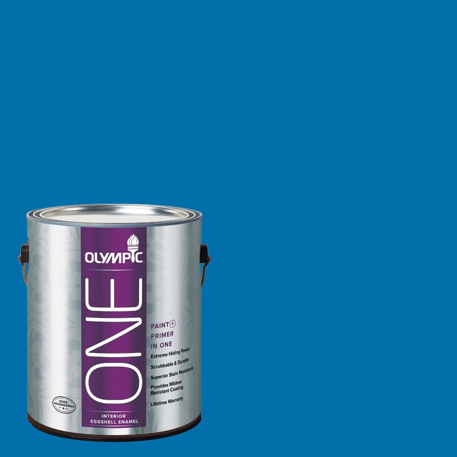 Olympic ONE Cobalt Blue Eggshell Latex Interior Paint and Primer In One (Actual Net Contents: 114-fl oz)