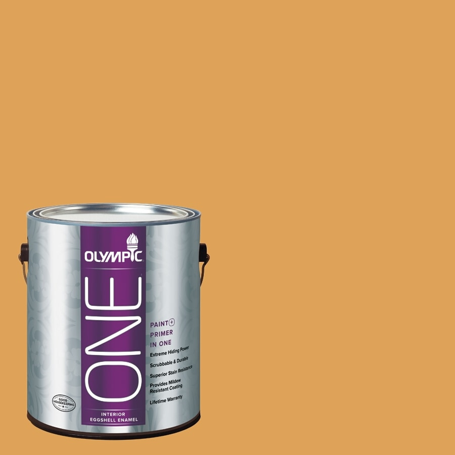 Olympic ONE Brown Mustard Eggshell Latex Interior Paint and Primer In One (Actual Net Contents: 114-fl oz)