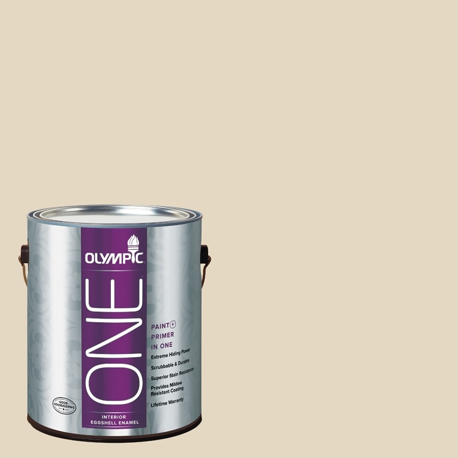 Olympic ONE Almond Paste Eggshell Latex Interior Paint and Primer In One (Actual Net Contents: 124-fl oz)