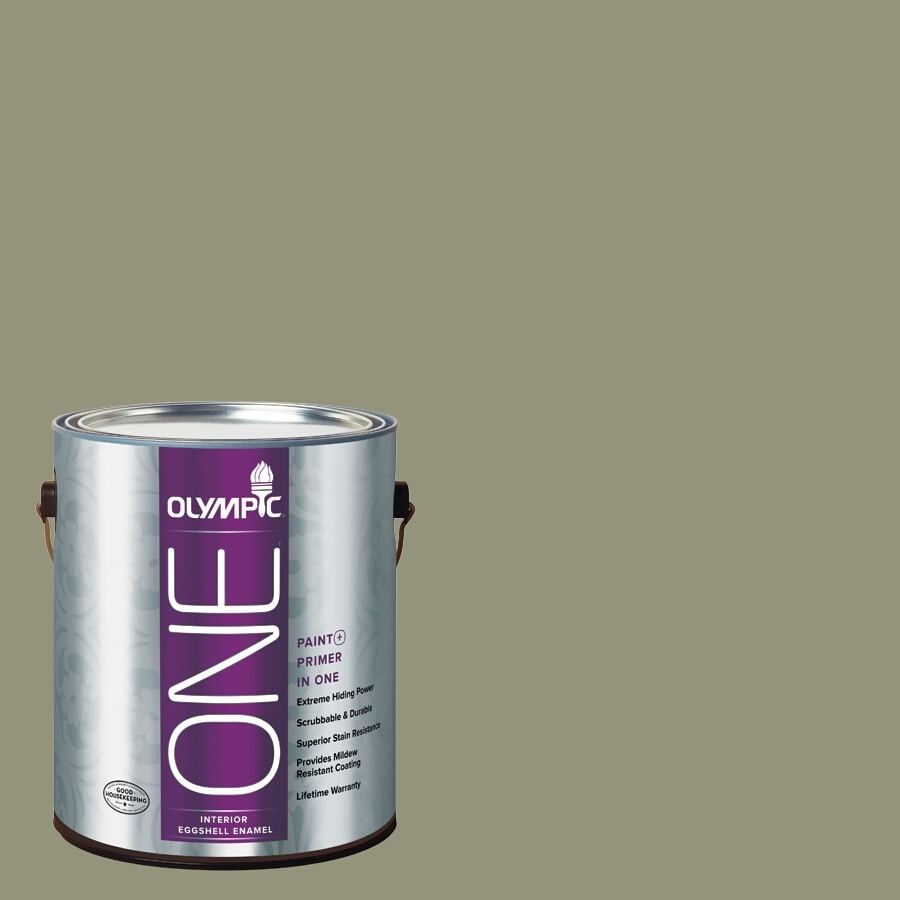 Olympic ONE Cavern Moss Eggshell Latex Interior Paint and Primer In One (Actual Net Contents: 116-fl oz)