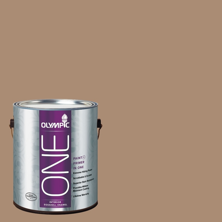 Olympic ONE Hot Chocolate Eggshell Latex Interior Paint and Primer In One (Actual Net Contents: 116-fl oz)