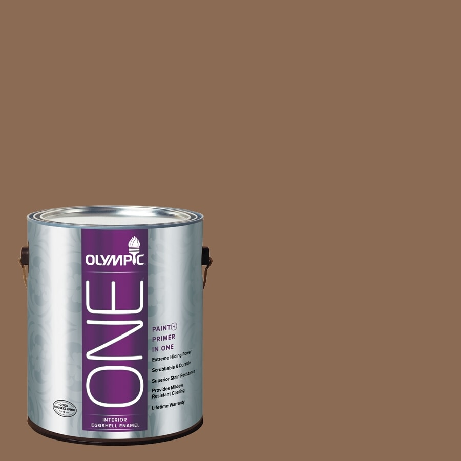 Olympic ONE Caravel Brown Eggshell Latex Interior Paint and Primer In One (Actual Net Contents: 114-fl oz)