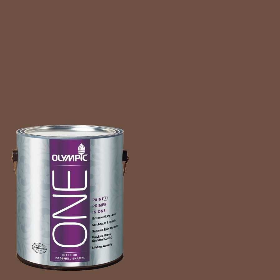 Olympic ONE Chocolate Pudding Eggshell Latex Interior Paint and Primer In One (Actual Net Contents: 114-fl oz)