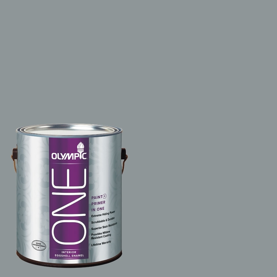 Olympic ONE Steeple Gray Eggshell Latex Interior Paint and Primer In One (Actual Net Contents: 116-fl oz)