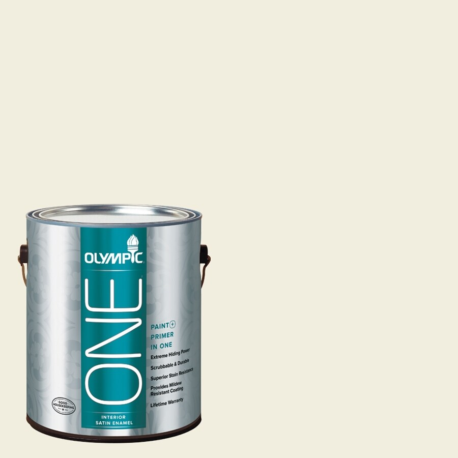 Olympic ONE Mother Of Pearl Satin Latex Interior Paint and Primer In One (Actual Net Contents: 124-fl oz)