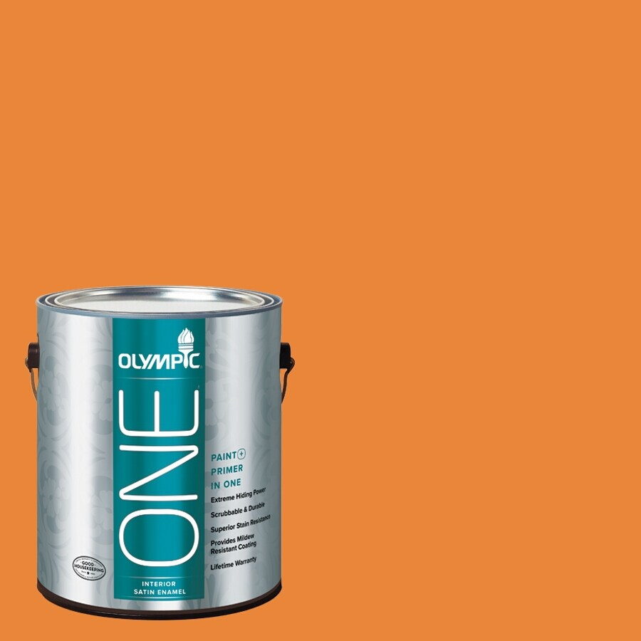 Olympic ONE Pumpkin Pleasure Satin Latex Interior Paint and Primer In One (Actual Net Contents: 114-fl oz)