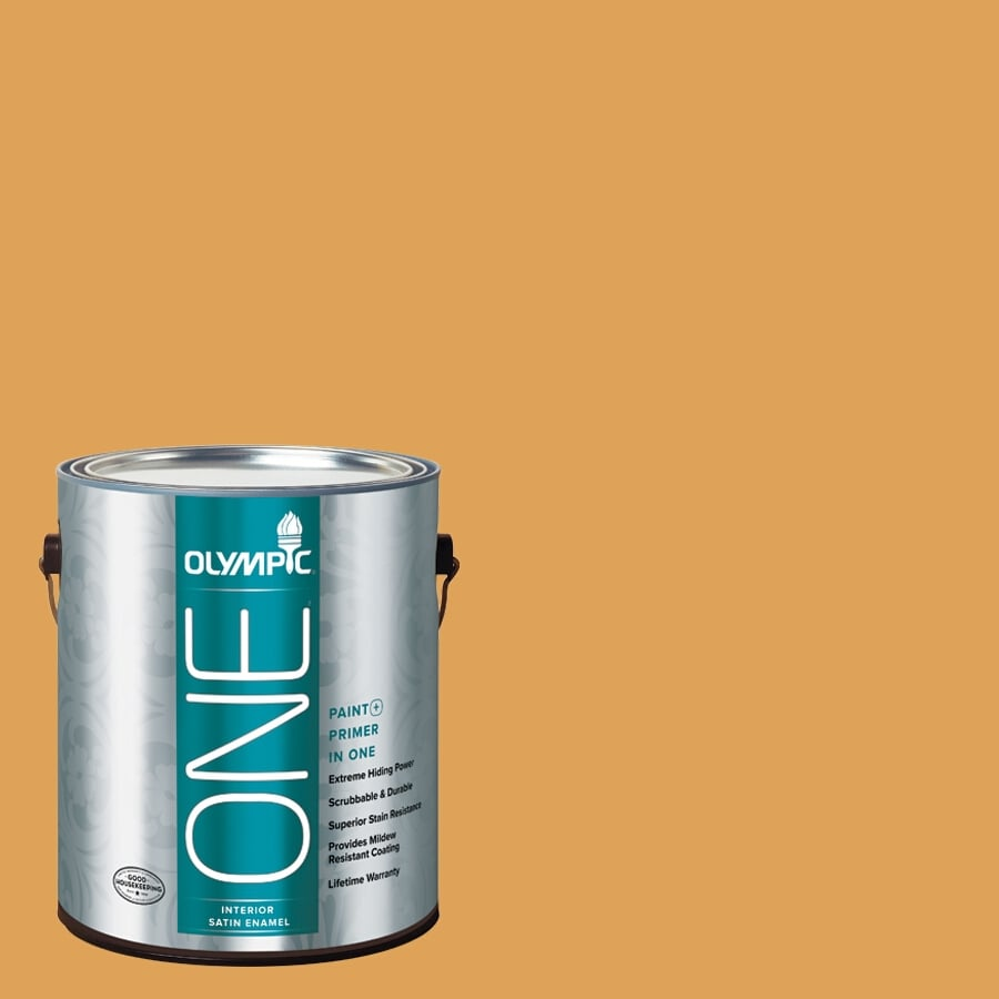 Olympic ONE Brown Mustard Satin Latex Interior Paint and Primer In One (Actual Net Contents: 114-fl oz)