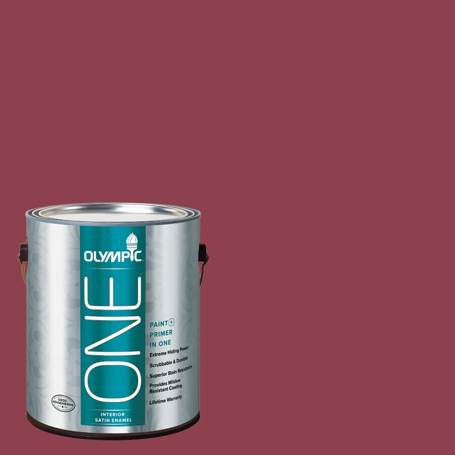 Olympic ONE Madeira Red Satin Latex Interior Paint and Primer In One (Actual Net Contents: 114-fl oz)