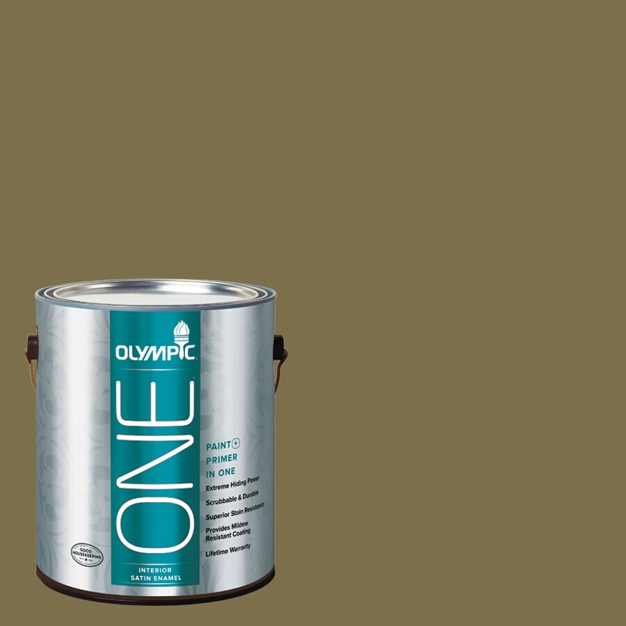 Olympic ONE Green Briar Satin Latex Interior Paint and Primer In One (Actual Net Contents: 114-fl oz)