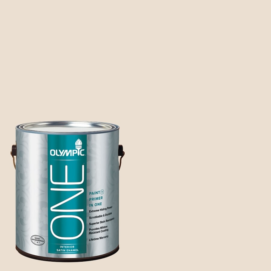 Olympic ONE Baked Brie Satin Latex Interior Paint and Primer In One (Actual Net Contents: 124-fl oz)