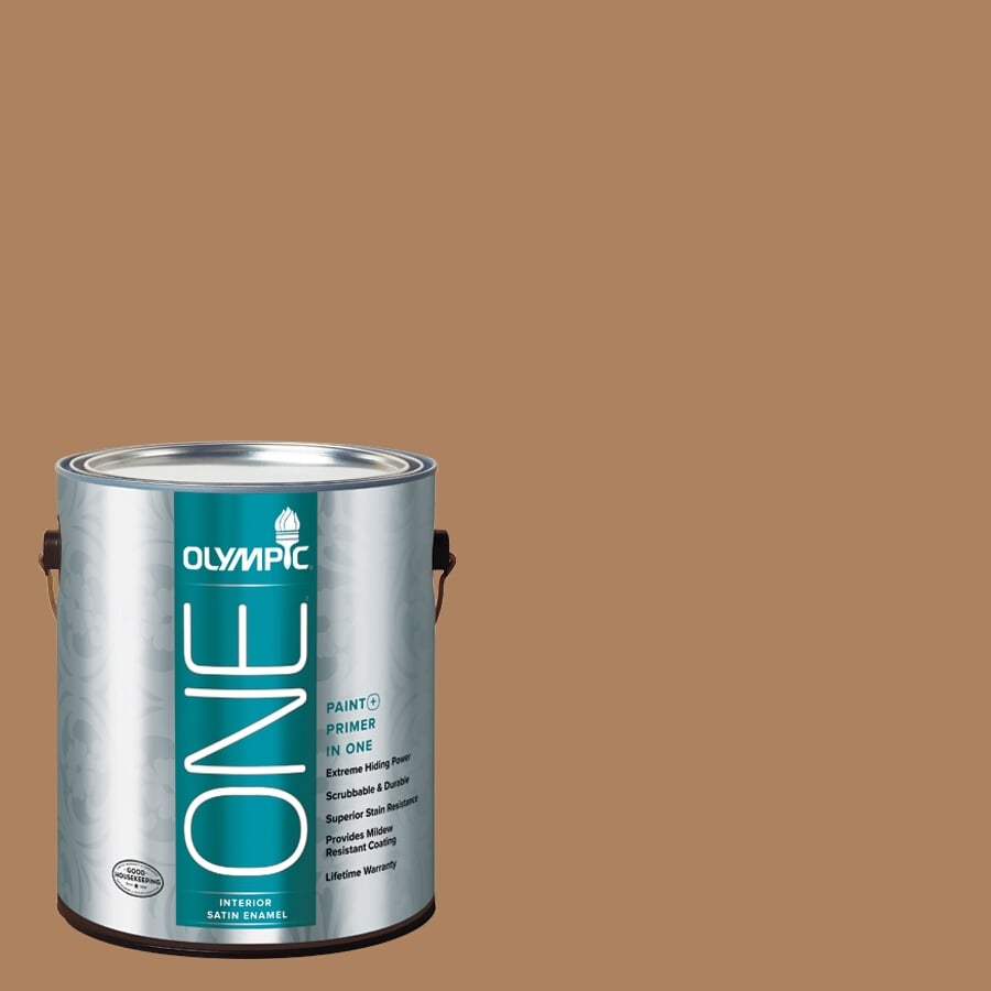 Olympic ONE Bronco Brown Satin Latex Interior Paint and Primer In One (Actual Net Contents: 114-fl oz)