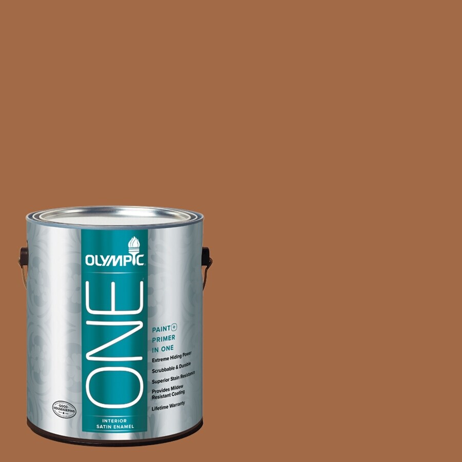 Olympic ONE Ginger Spice Satin Latex Interior Paint and Primer In One (Actual Net Contents: 114-fl oz)