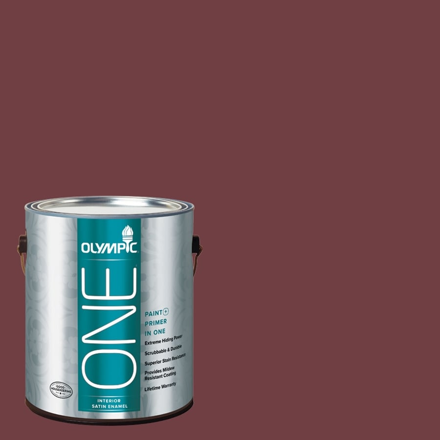 Olympic ONE Merlot Satin Latex Interior Paint and Primer In One (Actual Net Contents: 114-fl oz)