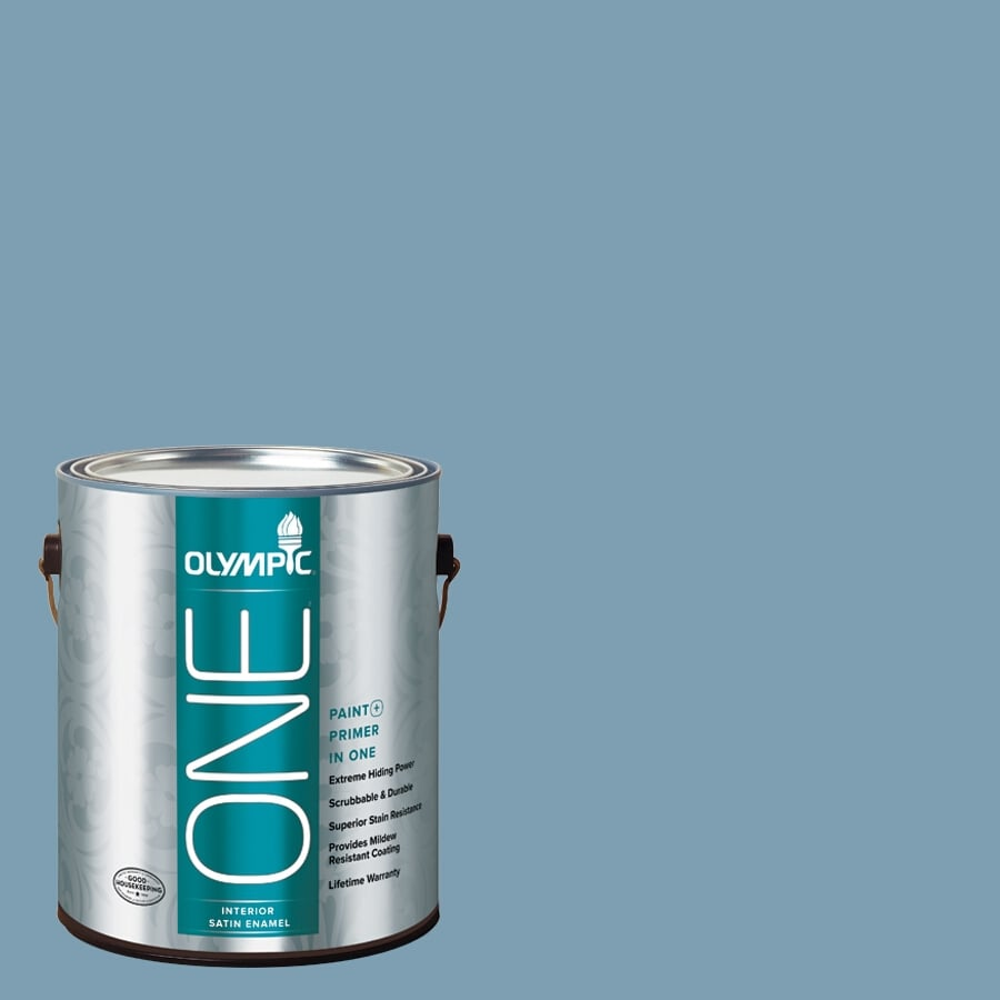 Olympic ONE Feelin-ft Blue Satin Latex Interior Paint and Primer in One (Actual Net Contents: 116-fl oz)