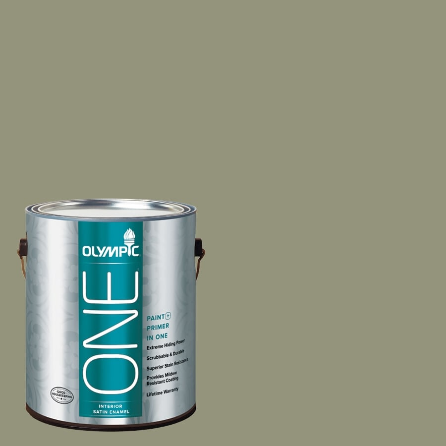 Olympic ONE Cavern Moss Satin Latex Interior Paint and Primer In One (Actual Net Contents: 116-fl oz)