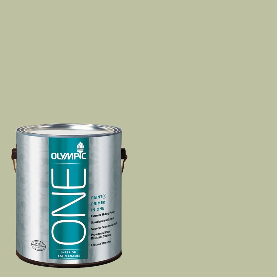 Olympic ONE Quaking Grass Satin Latex Interior Paint and Primer In One (Actual Net Contents: 124-fl oz)