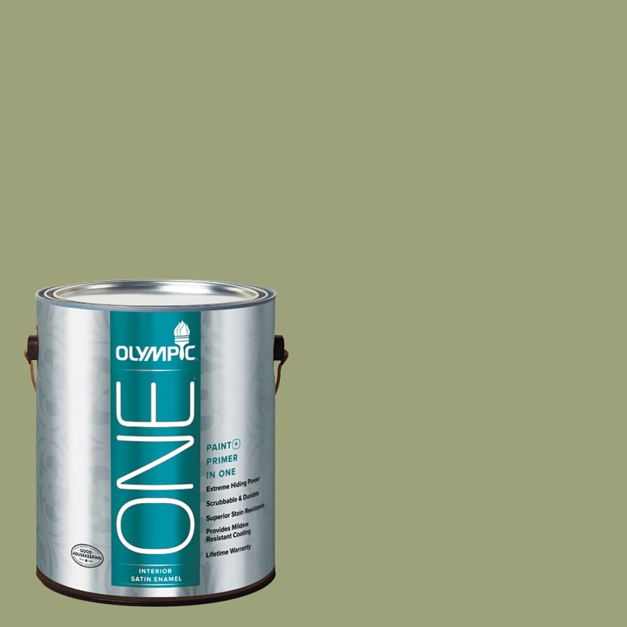 Olympic ONE Guacamole Satin Latex Interior Paint and Primer In One (Actual Net Contents: 116-fl oz)