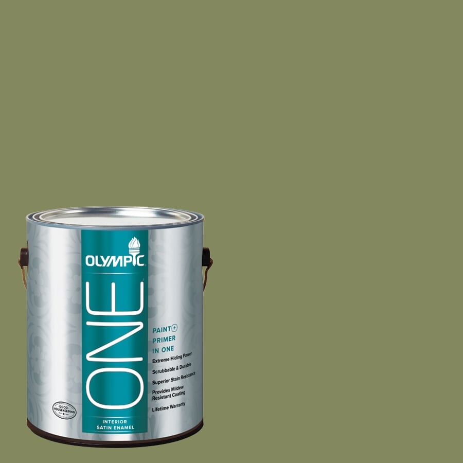 Olympic ONE Moss Point Green Satin Latex Interior Paint and Primer In One (Actual Net Contents: 114-fl oz)