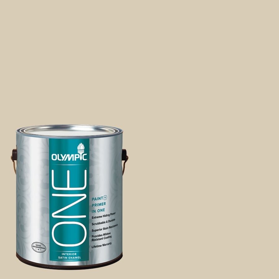 Olympic ONE Toasted Almond Satin Latex Interior Paint and Primer In One (Actual Net Contents: 124-fl oz)